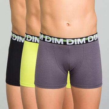 Lot de 3 boxers garçon noir, jaune, gris - Trio Dim, , DIM