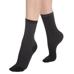 Lot de 2 paires de chaussettes noires à plumetis Femme, , DIM