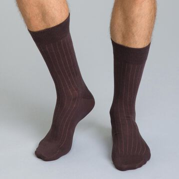 Chaussettes unies marrons en coton Homme-DIM