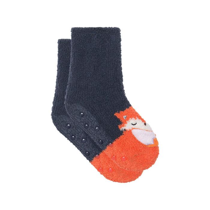 Chaussette enfant antidérapante motif renard 3D Gris Kids Cocoon , , DIM