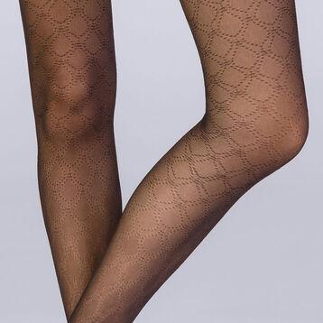 Collant gouttes de plumetis noir 18D Femme Les Fantaisies, , DIM