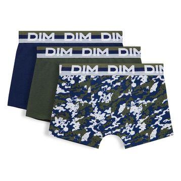 Lot de 3 boxers vert militaire DIM Boy-DIM