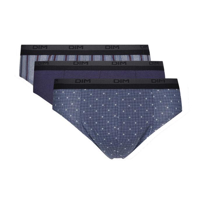 Lot de 3 slip homme en coton avec imprimé cube Gris Dim Coton Print, , DIM