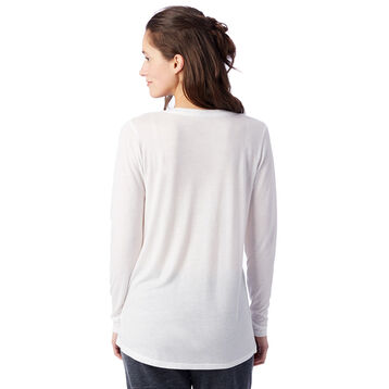 T-shirt fluide blanc à manches longues Femme-DIM