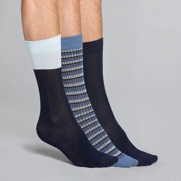 Lot de 3 chaussettes bleu encre et bleu marine Homme - Coton style, , DIM
