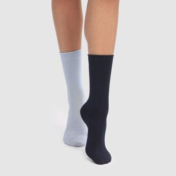 Lot de 2 paires de chaussettes mi hautes modal marine bleu Dim Modal , , DIM