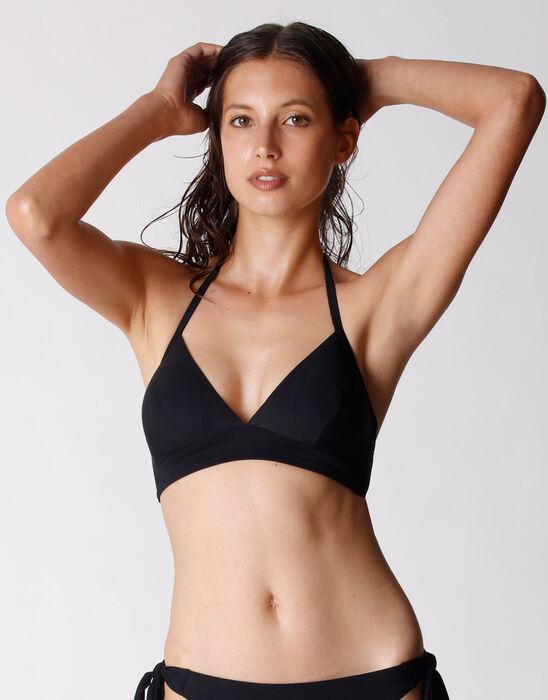 Haut de maillot de bain noir Femme en microfibre recyclée, , DIM