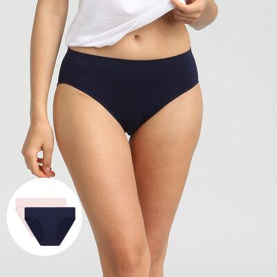 Lot de 2 culottes microfibre sans coutures bleu et rose Les Pockets EcoDim, , DIM