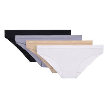 Lot de 5 slips noir, blanc, peau et gris coton Les Pockets-DIM