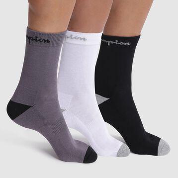 Lot de 3 chaussettes noir, blanc et gris - Champion performance, , DIM