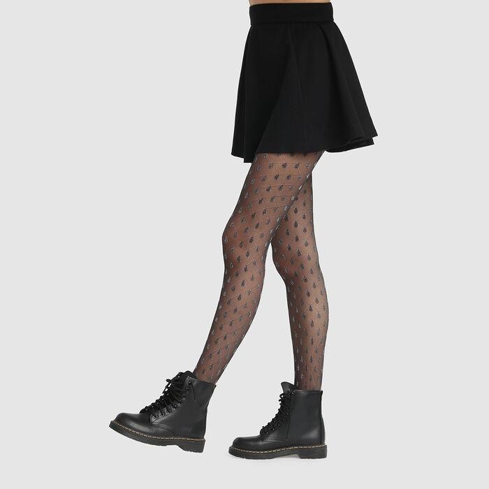 Collant fantaisie imprimé gouttes scintillantes noir lurex Style 20D, , DIM