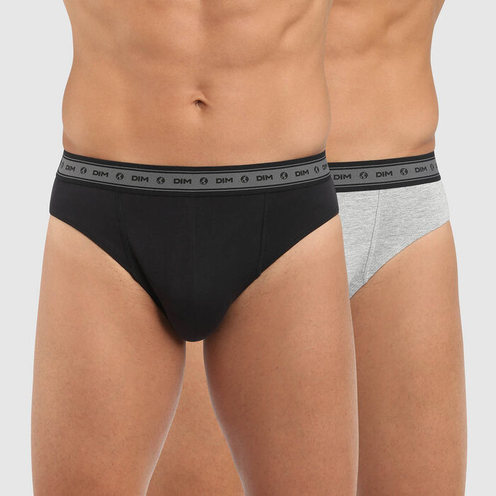 Lot de 2 slips homme coton stretch bio noir gris perle Green by Dim, , DIM