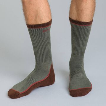 Chaussettes Outdoor contrastées bi-colores kaki Homme-DIM