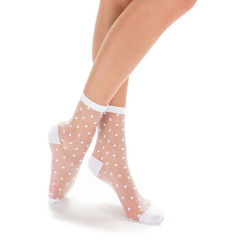 Socquettes blanches transparentes avec  plumetis Femme-DIM