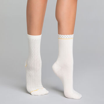 2 paires de chaussettes femme effet plumetis blanc et gris - Dim Coton Style, , DIM