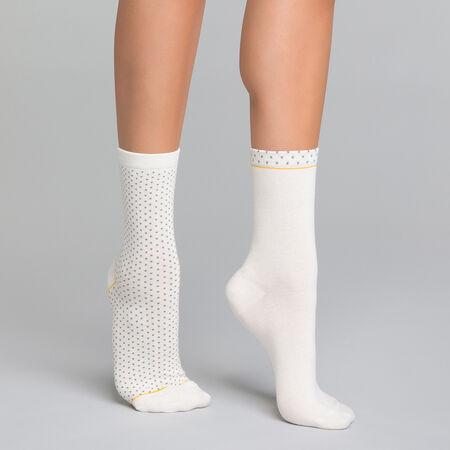 253b088430b 2 paires de chaussettes femme effet plumetis blanc et gris - Dim Coton Style