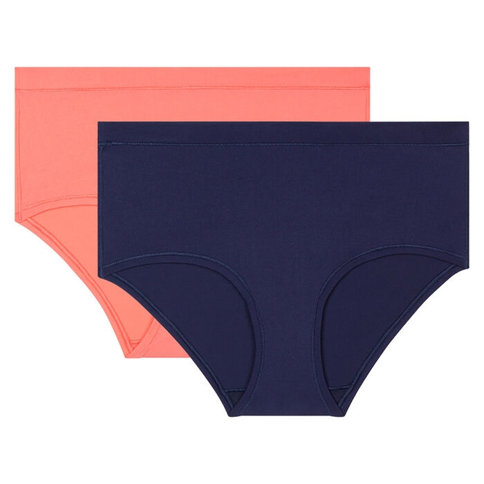 Lot de 2 shortys invisibles Body Mouv Corail et Bleu marine, , DIM