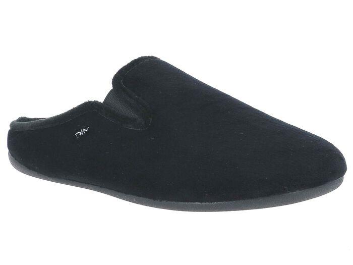 Chaussons pantoufles en velours noir Homme-DIM