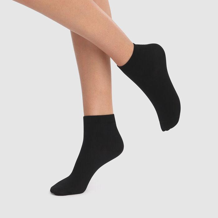 lot de 2 paires de socquettes femmes noires fil d'Écosse Dim, , DIM