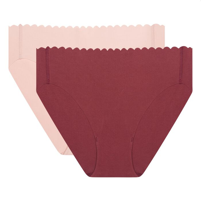 Lot de 2 culottes en coton stretch chocolat/skin rose Body Touch Coton, , DIM