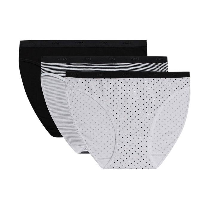 Lot de 3 slips femme en coton stretch motifs noir blanc Les Pockets, , DIM
