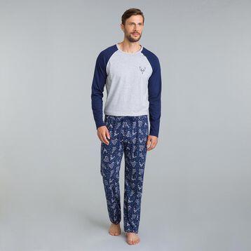 Pantalon de pyjama Street Art bleu matelot-DIM