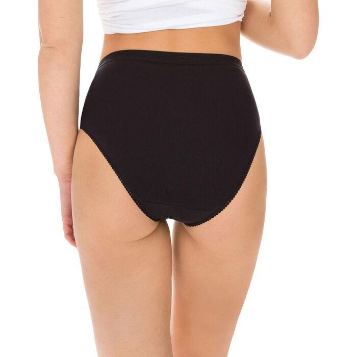 Lot de 2 slips noirs Femme Pur Coton taille haute-DIM