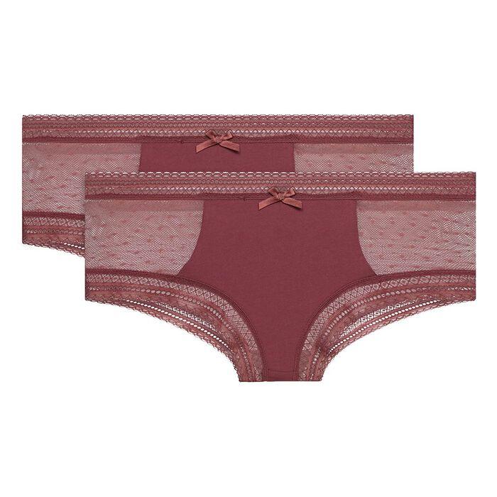 Lot de 2 shortys Brun Rouge coton et dentelle Sexy Transparency, , DIM