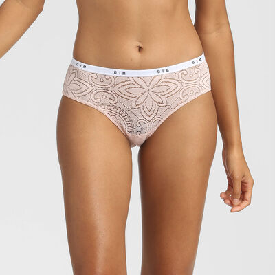 Shorty en dentelle et microfibre rose Dim Intimately, , DIM