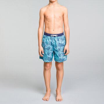 Short de bain garçon imprimé tropical - Bain Tropical, , DIM