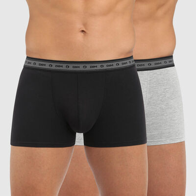 Lot de 2 boxers hommes coton stretch bio noir gris perle Green by Dim, , DIM