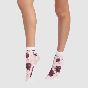 Socquettes fantaisie imprimé floral ivoire Style de Dim 40D, , DIM