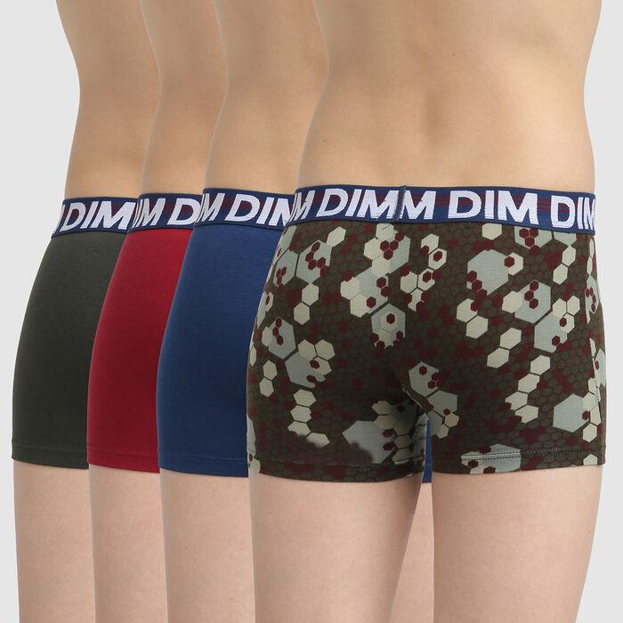 Lot de 4 boxers coton stretch ceinture graphique Militaire Eco Dim 3D , , DIM