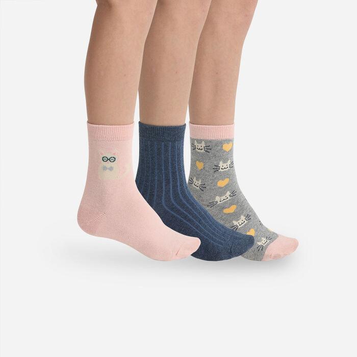 Lot de 3 paires de chaussettes enfant à motifs chats Coton Style Kids, , DIM