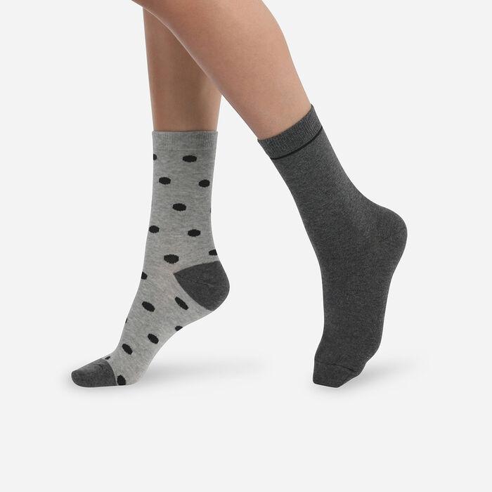 Lot de 2 paires de chaussettes femme à pois Gris Clair Coton Style, , DIM