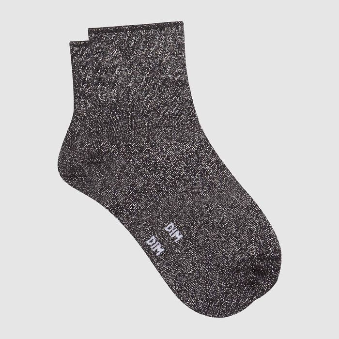 Socquette femme en coton peigné total lurex Noir Coton Style, , DIM