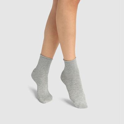 Socquette femme coton peigné total lurex Gris Clair Chiné Coton Style, , DIM
