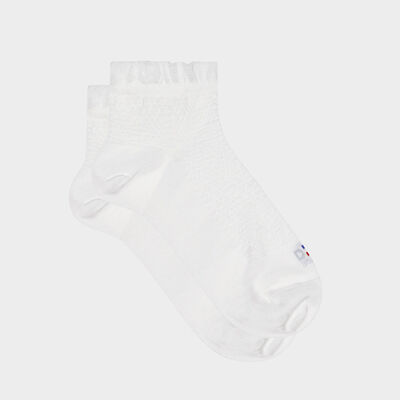 Socquette femme fil d'Écosse bord volant Blanc Dim Made in France, , DIM