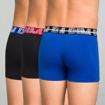 Lot de 3 boxers garçon noir et bleu outremer - Coton Stretch, , DIM