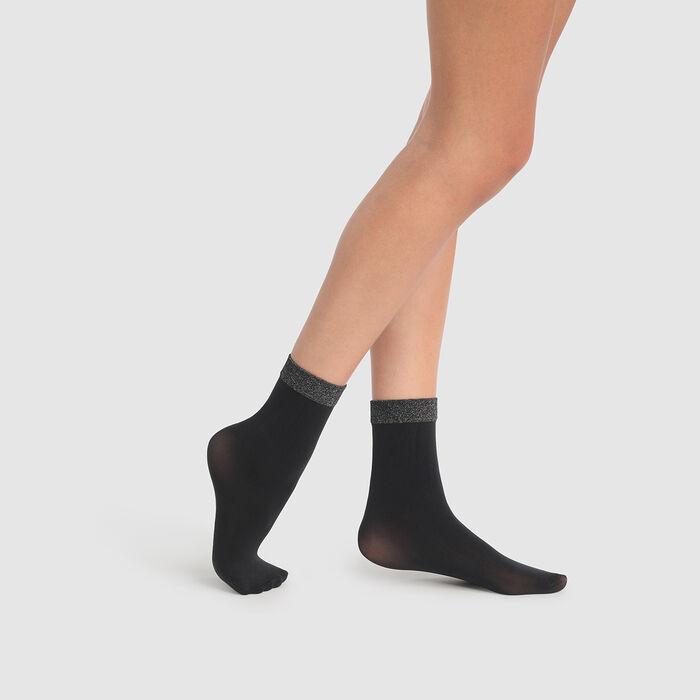Socquettes fantaisie noires imprimé lurex argent Dim Style, , DIM