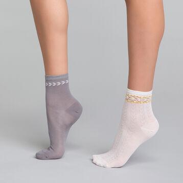 2 paires de chaussettes coton gris & blanc - Dim Coton Style, , DIM