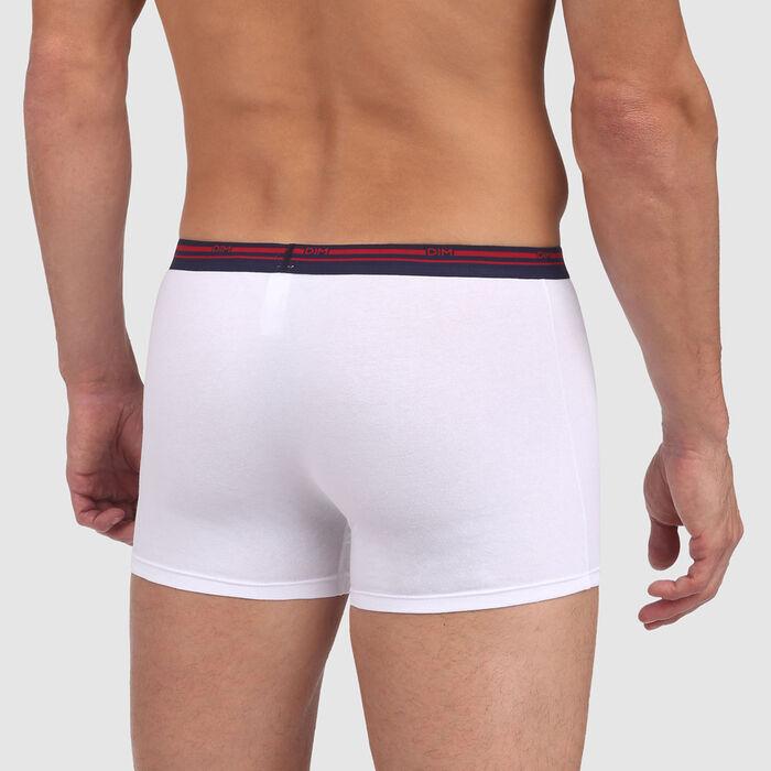 Boxer blanc en coton stretch à ceinture contrastée Classic Colors , , DIM