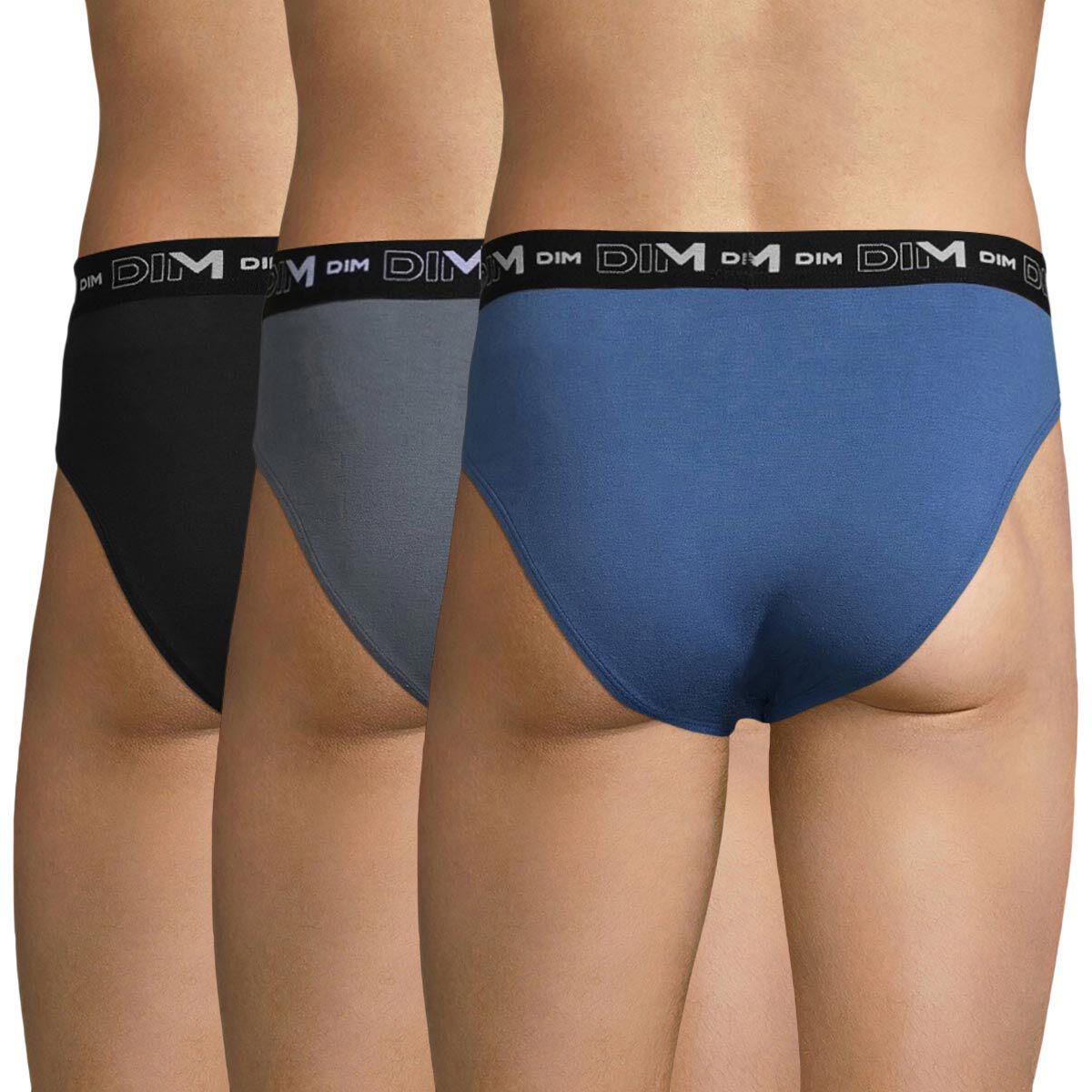 Lot de 3 slips bleu, gris souris et noir Coton Stretch