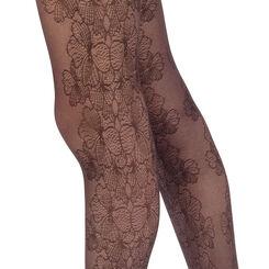 Collant noir motif élégance florale Style 33D, , DIM