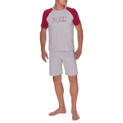 T-shirt de pyjama manches courtes gris chiné Homme-DIM