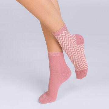 Lot de 2 socquettes Coton style chevron Femme-DIM