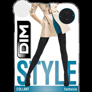 Collant chaud noir plumetis pois gris Style 110D, , DIM