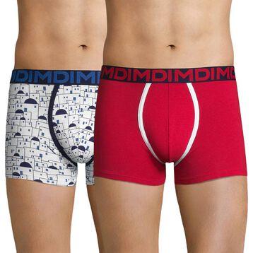 Lot de 2 boxers imprimé Cyclades et rouge - Dim Mix & Fancy, , DIM