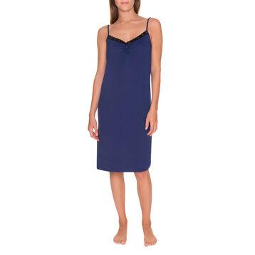 Chemise de nuit fines bretelles bleu encre Femme-DIM