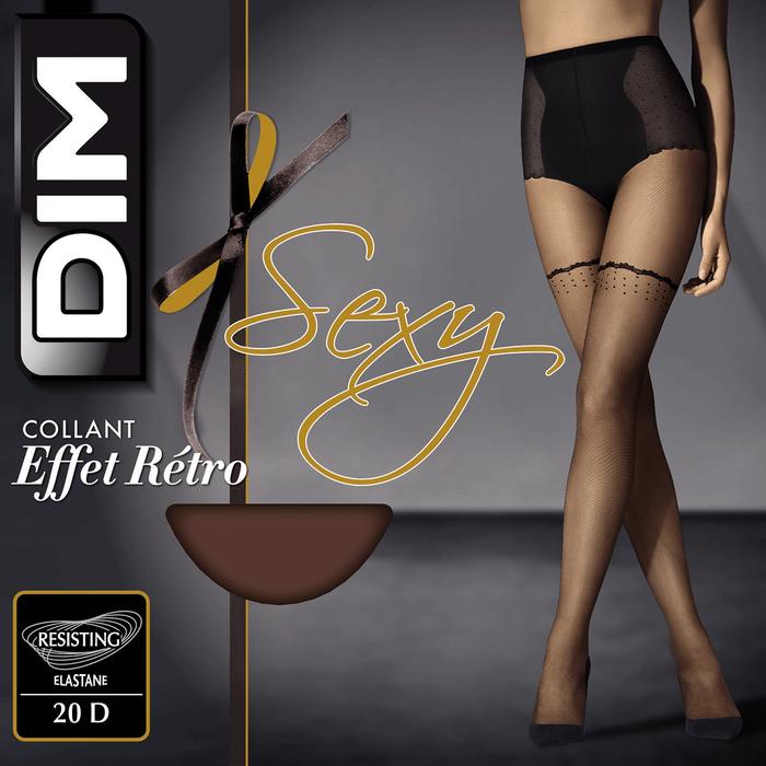 Collant noir DIM Sexy transparent effet rétro 21D-DIM